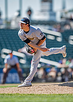23 June 2019: Trenton Thunder pitcher Brady Lail on the mound against the New Hampshire Fisher Cats at Northeast Delta Dental Stadium in Manchester, NH. The Thunder defeated the Fisher Cats 5-2 in Eastern League play. Mandatory Credit: Ed Wolfstein Photo *** RAW (NEF) Image File Available ***