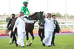 February 19, 2021: EMBLEM GAME #2 win the first race of the afternoon on International Jockeys Challenge Day with F. Alfrouaidi onboard, King Abdulaziz Racecourse, Riyadh, Saudi Arabia. Shamela Hanley/Eclipse Sportswire