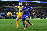 Liam Feeney of Cardiff City is marked by Tom Clarke of Preston North End during the Sky Bet Championship match between Cardiff City and Preston North End at the Cardiff City Stadium, Wales, UK. Friday 29 December 2017