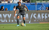 CARSON, CA - SEPTEMBER 29: Theo Bair #50 of the Vancouver Whitecaps looks for an open man during a game between Vancouver Whitecaps and Los Angeles Galaxy at Dignity Health Sports Park on September 29, 2019 in Carson, California.