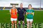 Kerry captain Anna Galvin with her Armagh counterpart Kelly Mallon and referee Niall McCormack in the Div 2 game of the Lidl Ladies National Football league