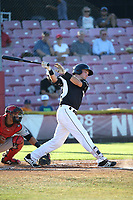 Ryan Kirby (10) of the Salem-Keizer Volcanoes bats against the Vancouver Canadians at Volcanoes Stadium on July 24, 2017 in Keizer, Oregon. Salem-Keizer defeated Vancouver, 4-3. (Larry Goren/Four Seam Images)