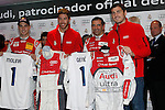 Real Madrid players Iker Casillas, Sergio Ramos and F1 driver Marc Gene participate and receive new Audi during the presentation of Real Madrid's new cars made by Audi at the Jarama racetrack on November 8, 2012 in Madrid, Spain.(ALTERPHOTOS/Harry S. Stamper)