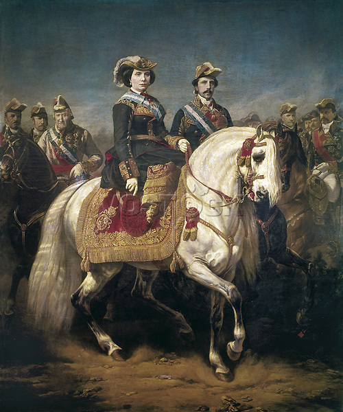 PORION, Louis Charles (1814-h.1884). Military Parade Reviewed by Kings Isabel II and Francisco, Accompanied by Generals Castañ