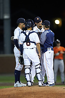 Buies Creek Astros pitching coach Drew French (right) has a meeting on the mound with relief pitcher Jesus Balaguer (44), catcher Carlos Canelon (8), and shortstop Anibal Sierra (12) during the game against the Frederick Keys at Jim Perry Stadium on April 28, 2018 in Buies Creek, North Carolina. The Astros defeated the Keys 9-4.  (Brian Westerholt/Four Seam Images)