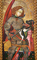 Gothic Altarpiece of Archangel Michael ( Sant Miguel Arcangel) by Blasco de Branen of Saragossa, circa 1435-1445 , tempera and gold leaf on for wood.  National Museum of Catalan Art, Barcelona, Spain, inv no: MNAC   114741.