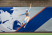 North Carolina Tar Heels center fielder Brian Miller (5) goes up over the wall to rib Cal Raleigh (not pictured) of a home run during the 2017 ACC Baseball Championship Game at Louisville Slugger Field on May 28, 2017 in Louisville, Kentucky.  The Seminoles defeated the Tar Heels 7-3.  (Brian Westerholt/Four Seam Images)