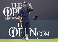 14th July 2021; The Royal St. George's Golf Club, Sandwich, Kent, England; The 149th Open Golf Championship, practice day; Bryson Dechambeau (USA) prepares to his his tee shot on the opening hole