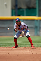 Harrisburg Senators second baseman Dante Bichette (2) fields a ground ball during an Eastern League game against the Erie SeaWolves on June 30, 2019 at UPMC Park in Erie, Pennsylvania.  Erie defeated Harrisburg 4-2.  (Mike Janes/Four Seam Images)