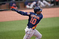 Houston Astros Yuli Gurriel (10) bats during a Major League Spring Training game against the St. Louis Cardinals on March 20, 2021 at Roger Dean Stadium in Jupiter, Florida.  (Mike Janes/Four Seam Images)