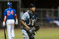 AZL Indians 2 catcher Noah Naylor (12) during an Arizona League game against the AZL Cubs 2 at Sloan Park on August 2, 2018 in Mesa, Arizona. The AZL Indians 2 defeated the AZL Cubs 2 by a score of 9-8. (Zachary Lucy/Four Seam Images)