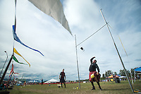 James Greer competes in the weight over height event during the 2015 Alaska Scottish Highland Games at the Palmer fairgrounds.