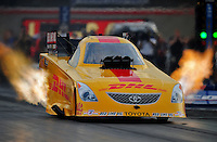 Oct. 31, 2008; Las Vegas, NV, USA: NHRA funny car driver Jeff Arend during qualifying for the Las Vegas Nationals at The Strip in Las Vegas. Mandatory Credit: Mark J. Rebilas-
