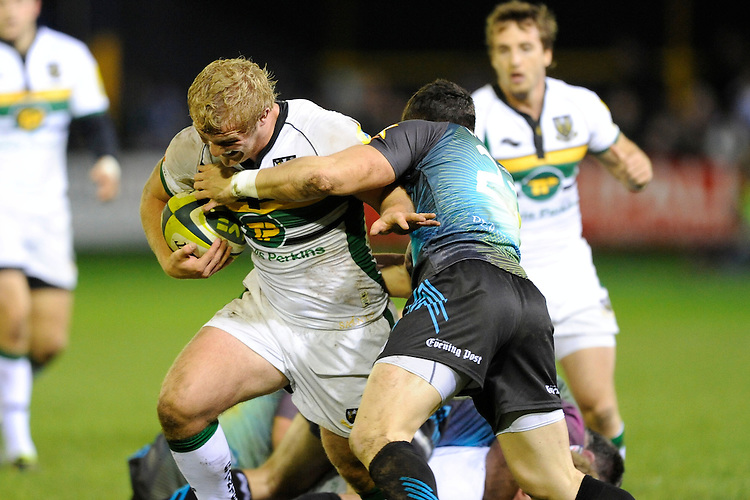 Mike Haywood of Northampton Saints drives forward during the LV= Cup second round match between Ospreys and Northampton Saints at Riverside Hardware Brewery Field, Bridgend (Photo by Rob Munro)