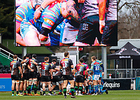 13th February 2021; Twickenham Stoop, London, England; English Premiership Rugby, Harlequins versus Leicester Tigers; Setting for another scrum under the referees instruction