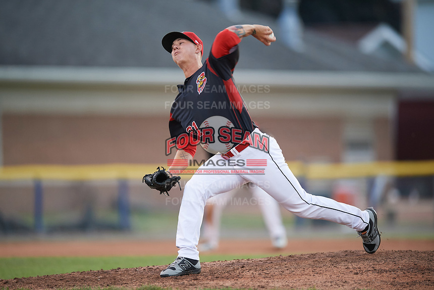 Batavia Muckdogs relief pitcher Shane Sawczak (21) delivers a pitch during a game against the Auburn Doubledays on June 19, 2017 at Dwyer Stadium in Batavia, New York.  Batavia defeated Auburn 8-2 in both teams opening game of the season.  (Mike Janes/Four Seam Images)