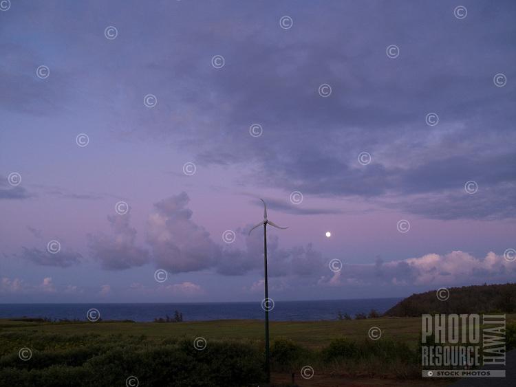 Wind Turbine at moonrise time on Kauai