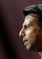 National Harbor, Maryland, USA. 6th March 2014. Governor Bobby Jindal of Louisiana speaks during an address to delegates at the Conservative Political Action Conference (CPAC). Alamy/Trevor Collens.
