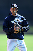 February 25, 2010:  Shortstop Derek Jeter of the New York Yankees during practice at Legends Field in Tampa, FL.  Photo By Mike Janes/Four Seam Images