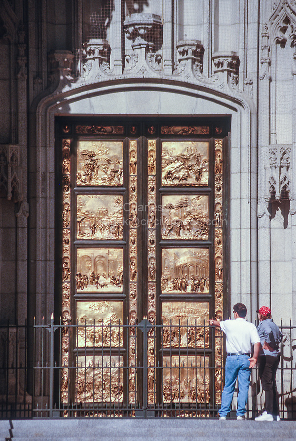 San Francisco, California, USA. Grace Cathedral (Episcopal), Main Entrance. Door Depicts Scenes from the Old Testament, Copy of Originals by Sculptor Lorenzo Ghiberti.