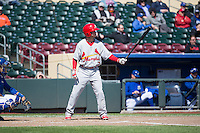 Matt Williams (7) of the Memphis Redbirds at bat against the Omaha Storm Chasers in Pacific Coast League action at Werner Park on April 22, 2015 in Papillion, Nebraska.  (Stephen Smith/Four Seam Images)