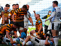 25th April 2021; Ricoh Arena, Coventry, West Midlands, England; English Premiership Rugby, Wasps versus Bath Rugby; Wasps players celebrate Thomas Young's try after 73 minutes (32-29)