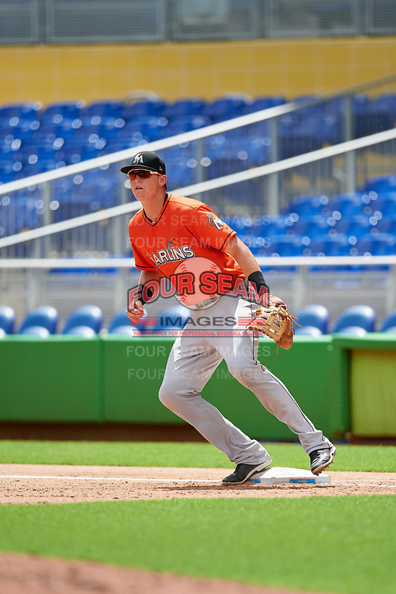 Miami Marlins Sean Reynolds (47) during a Florida Instructional League game against the Washington Nationals on September 26, 2018 at the Marlins Park in Miami, Florida.  (Mike Janes/Four Seam Images)