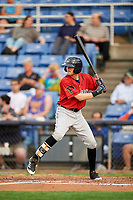 Erie SeaWolves left fielder Danny Woodrow (22) at bat during a game against the Binghamton Rumble Ponies on May 14, 2018 at NYSEG Stadium in Binghamton, New York.  Binghamton defeated Erie 6-5.  (Mike Janes/Four Seam Images)