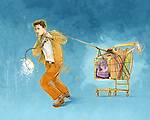 Illustrative concept of man pulling shopping cart representing online shopping