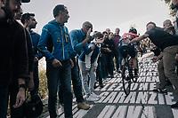 Enrico Gasparotto (ITA/Bahrain Merida) 'helped' up the infamous Muro di Sormano (avg 17%/max 25%)<br /> <br /> Il Lombardia 2017<br /> Bergamo to Como (ITA) 247km