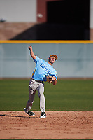 Eric Elizondo (2) of Juarez Lincoln High School in Mission, Texas during the Baseball Factory All-America Pre-Season Tournament, powered by Under Armour, on January 13, 2018 at Sloan Park Complex in Mesa, Arizona.  (Mike Janes/Four Seam Images)