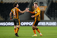 Hull City's James Scott celebrates scoring his side's third goal with Lewie Coyle<br /> <br /> Photographer Alex Dodd/CameraSport<br /> <br /> EFL Papa John's Trophy - Northern Section - Group H - Hull City v Grimsby Town - Tuesday 17th November 2020 - KCOM Stadium - Kingston upon Hull<br />  <br /> World Copyright © 2020 CameraSport. All rights reserved. 43 Linden Ave. Countesthorpe. Leicester. England. LE8 5PG - Tel: +44 (0) 116 277 4147 - admin@camerasport.com - www.camerasport.com