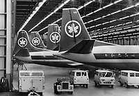 Air Canada Planes Grounded by the Strike sit mutely in the deserted hangar at malton. The nation-wide walkout of machinists and auxiliary peronnel also caused the disruption of thousands of person' travel plans<br /> <br /> Griffin, Doug<br /> Picture, 1966, English