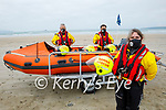 Members of Banna Rescue on Banna Beach on Saturday who have seen their major Ring of Kerry fundraiser cancelled for 2nd year in a row. Front right: Grainne Costello, Back l to r:  Brian Crean and Sean O'Connor in the boat,