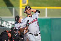 Braulio Lara (48) of the Sacramento River Cats before the game against the Salt Lake Bees in Pacific Coast League action at Smith's Ballpark on April 20, 2015 in Salt Lake City, Utah.  (Stephen Smith/Four Seam Images)