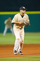 Wake Forest Demon Deacons shortstop Pat Blair #11 on defense against the Miami Hurricanes at NewBridge Bank Park on May 25, 2012 in Winston-Salem, North Carolina.  The Hurricanes defeated the Demon Deacons 6-3.  (Brian Westerholt/Four Seam Images)