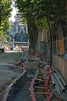New tramway line under construction through Parc Longchamp, Marseille, France.