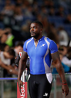 Golden Gala di atletica leggera allo stadio Olimpico di Roma, 6 giugno 2013.<br /> Justin Gatlin, of the United States, reacts after winning the men's 100 meters race at the Golden Gala IAAF athletics meeting at Rome's Olympic stadium, 6 June 2013.<br /> UPDATE IMAGES PRESS/Isabella Bonotto