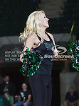North Texas Mean Green cheerleaders in action during the game between the Denver Pioneer Women and the University of North Texas Mean Green at the North Texas Coliseum,the Super Pit, in Denton, Texas. Denver defeats UNT 50 to 44....
