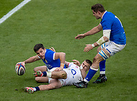 13th February 2021; Twickenham, London, England; International Rugby, Six Nations, England versus Italy; Tommaso Allan of Italy puts down and scores a try