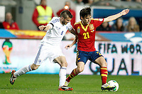 Spain's David Jimenez Silva (r) and Finland's Hetemaj during international match of the qualifiers for the FIFA World Cup Brazil 2014.March 22,2013.(ALTERPHOTOS/Acero)