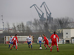 Tranmere Rovers Ladies 5 Middlesbrough Ladies 0, 22/01/2006. FA Women's premier League North. Tranmere Rovers Ladies (white) take on Middlesbrough Ladies in a FA Women's premier League (North) match at Poulton Victoria FC's ground in Wallasey with Birkenhead docks cranes in the background. Rovers won 5-0.<br />  Photo by Colin McPherson.
