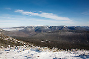 Pemigewasset Wilderness from the along the Appalachian Trail (Franconia Ridge Trail) during the winter months in the White Mountains of New Hampshire USA.