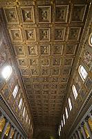 The gold covered ceiling of Santa Maria di Maggiore basilica, Rome, Italy.