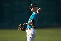 Mooresville Spinners infielder Kye Andress (6) (Catawba Valley CC) warms up in the outfield prior to the game against the Dry Pond Blue Sox at Moor Park on July 2, 2020 in Mooresville, NC.  The Spinners defeated the Blue Sox 9-4. (Brian Westerholt/Four Seam Images)