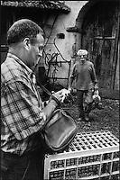 Europe/France/Aquitaine/64/Pyrénées-Atlantiques/ Verdets: Mr Lacrampe volailler  achète ses poules dans les fermes
