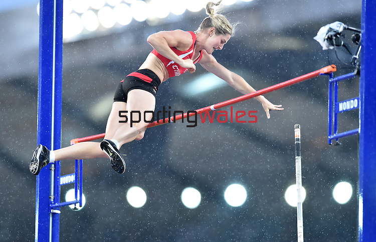Wales' Sally Peake makes a successful jump in the women's pole vault competition.  Peake went on to claim the silver medal.<br /> <br /> Photographer Chris Vaughan/Sportingwales<br /> <br /> 20th Commonwealth Games - Day 10 - Saturday 2nd August 2014 - Athletics - Hampden Park - Glasgow - UK