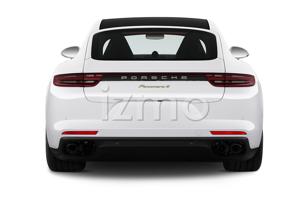 Straight rear view of 2019 Porsche Panamera 4-E-Hybrid 5 Door Hatchback Rear View  stock images
