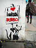 King Robbo (born John Robertson, 23 October 1969 – 31 July 2014) was an English underground graffiti artist. His feud with the artist Banksy was the subject of a Channel 4 television documentary called Graffiti Wars, first shown in August 2011.<br /> <br /> This Graffiti is near Moorgate in the City of London.<br /> <br /> Stock Photo by Paddy Bergin