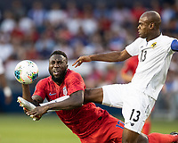 KANSAS CITY, KS - JUNE 26: Jozy Altidore #17 and Harold Cummings #3 go after the ball during a game between Panama and USMNT at Children's Mercy Park on June 26, 2019 in Kansas City, Kansas.